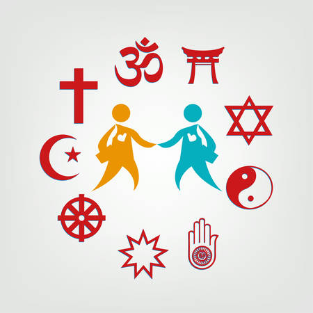 Interfaith Dialogue illustrazione. Clip Art modificabile. Simboli religiosi che circondano due persone.