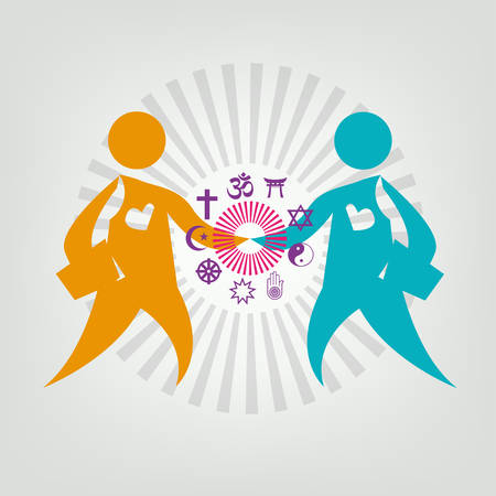 bahai: Interfaith Dialogue Flat concept. Editable Clip Art. Two leaders meet and shakes hand. Religious symbols on Figures Handshake.