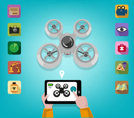 operates: Hand operates a Drone using a Tablet or Smartphone with Icons of Features. Editable Clip Art.