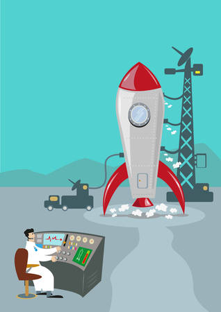 launch: Retro Rocket Ready to Launch. Ground Control Scientist. Illustration