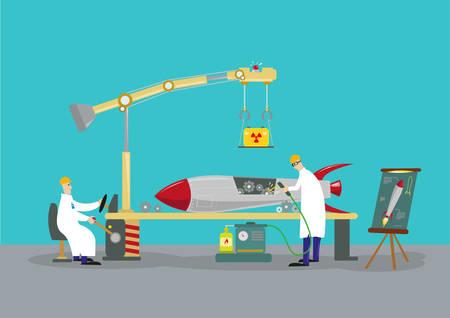 로켓 미사일 탄두를 연구하는 과학자들. 리버스 엔지니어링 개념입니다.