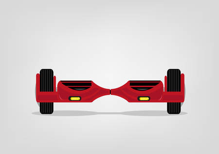 led: Red Balance Scooter with LED lights. Editable Clip Art.