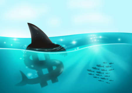 blackmail: Loan Shark Dollar Sign Concept. Financial Concept Stock Photo
