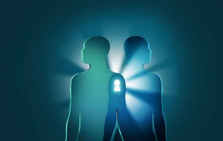 Entriegeln der Geheimnisse des Lebens und des Todes concept.Two menschliche Figuren verbinden sich mit hellen Strahlen und Keyhole zwischen ihnen. Symbolische Zeichnung, die viele Dinge wie in der Nähe von Tod oder Wiedergeburt bedeuten kann Standard-Bild - 51000056