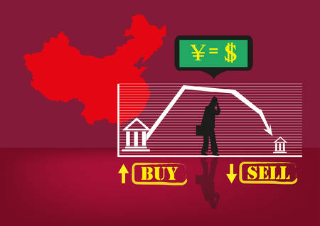 stock exchange brokers: Chinese Financial Trouble concept. A Silhouette of a businessperson with Chinese Map and Stock Exchange Elements. Editable Clip Art