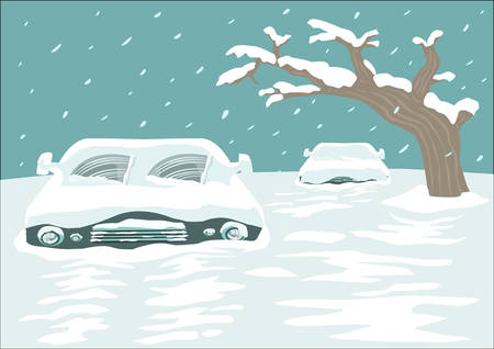 Cold spell concept. Blizzard blankets a city with cars and streets covered with Snow. Editable Clip Art. Çizim