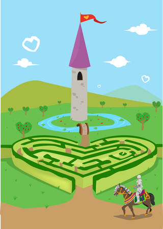 finding love: Finding Love in the Kingdom of Hearts. Valentines Day and Courtship Concept. Editable Clip Art. Illustration