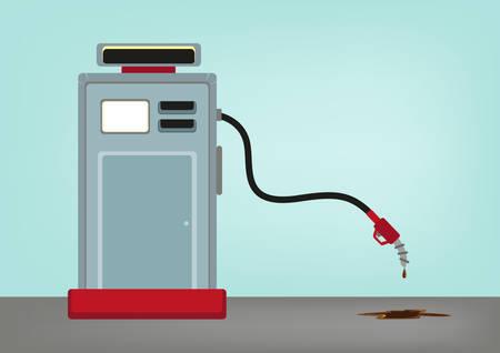 crisis economica: Concepto de aceite bajo precio. Gasolinera con su manguera que va abajo. Editable en Imágenes prediseñadas.