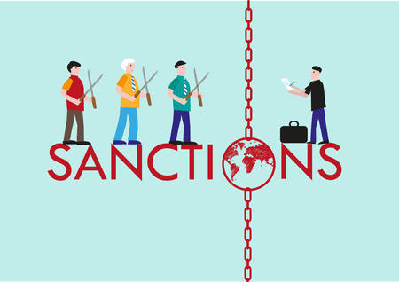 embargo: Leaders agree to cut or not to cut the sanctions they put on another country.  Illustration