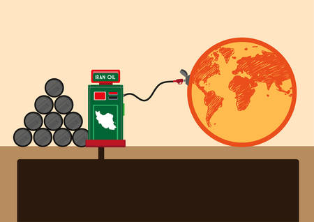 brent crude: Republic of Iran Supplies Oil to the World after Lifting of trade sanctions concept. Editable  Clip Art. Illustration