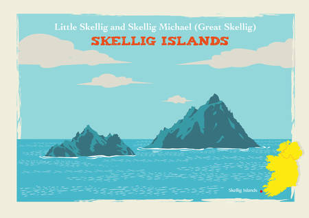 far away: Two Islands Skellig Michael or Great Skellig and Little Skellig in Country Kerry, Ireland. Editable Clip Art.