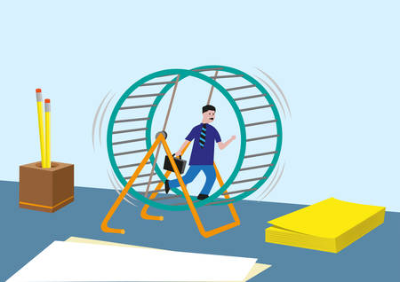 metaphor: Workaholic concept and more. Businessperson or Sales Marketing Running Endless in a Hamster Wheel.