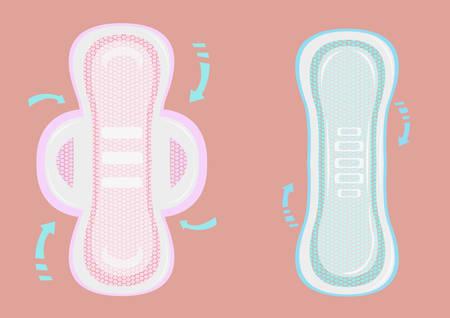 Sanitary Napkin Pads mit Lehr-Pfeile für Etiketten und Verpackungen. Editierbare Clip Art.