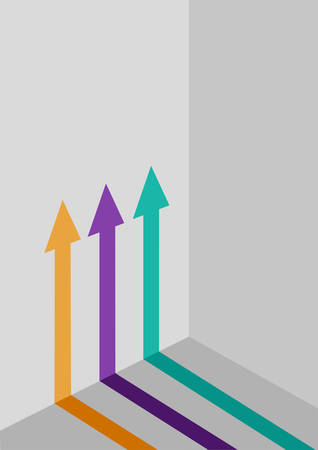 monetize: Three Graphical  Arrows in Different Colors Pointed Upwards on a Wall.