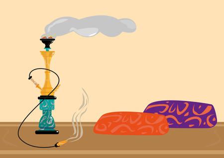 Traditionele Sisha of Shisha Recreational rookruimte. Flat Artwork Editable Clip Art.