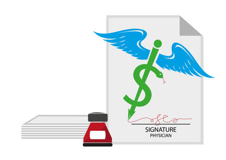 medical evaluation: Medical Signature and document concept. Dollar sign on medicinal symbol pen. Editable  Clip Art. Illustration