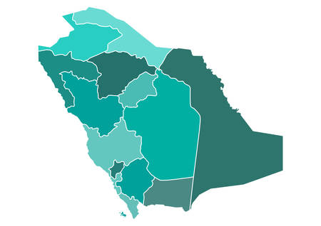 map: Saudi Arabia Political Map with Different Provinces borders in different shades of teal green. Editable clip art.