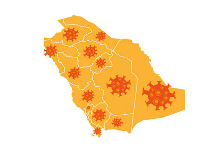 corona: Illustration of Mers-Cov Flu Corona Virus Icons Spreading all over Saudi Arabia Map. Editable Clip Art.
