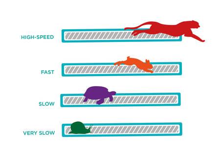 animais: Computador ou Wifi velocidade. Animais velocidade de carregamento tecnologia Bar Ilustração