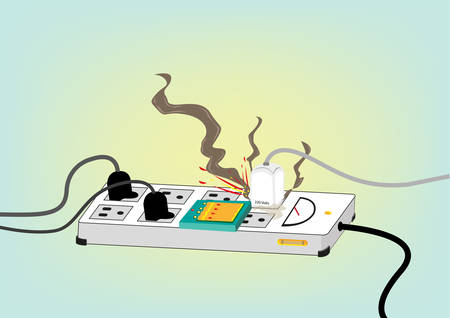overheat: Electrical Safety Standard Concept. Exploding Electric Cord with spark and smoke. Editable Clip Art.