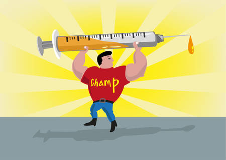 enhancement: Athlete Lifts Up a Syringe. Doping or Drug Enhancement Concept. Editable Clip Art.