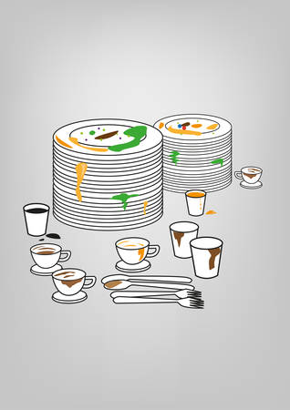 unwashed: Messy Plates and utensils. Kitchen Cleaning Supply concept. Editable Clip Art