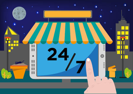 Hand uses a tablet as a virtual store . Online Shop Selling Point of Sale System POS or Buying stuff via Internet for 24 hours, 7 days Illustration