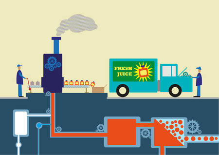 Factory of Fruit Juice with Diagram Flow of Systematic Process of Production. Illustration of step by step production of a juice product. Editable Clip Art. Ilustracja