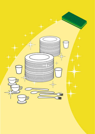 germ free: Wiping Away Dirt and Highlighting brand new kitchen plates and wares. Illustration of Sponge wipes plates and utensils clean and shiny. Editable clip art.