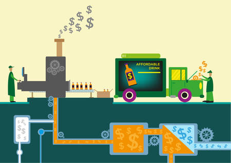 reduce: Dollars Symbols Flowing from Processing Machines in a Drink Factory Site Flat Style Clip Art