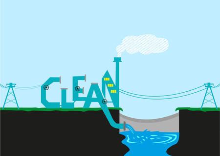 Energía limpia, agua y medio ambiente ilustración del concepto
