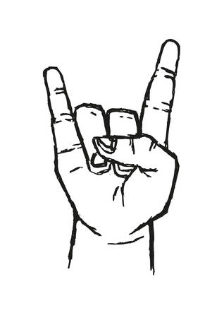 rock hand: Sign of the Horns Hand Salute  or Sign Language Used in many alternative communications popular with Rock stars and Rock fans. Stylized Outline Art. Editable Clip Art.