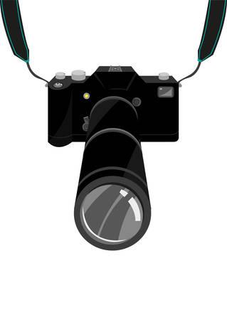 스트랩과 줌 렌즈가 달린 고가의 SLR 필름 또는 디지털 싱글 렌즈 리플렉스 DSLR 카메라. 편집 가능한 클립 아트입니다.