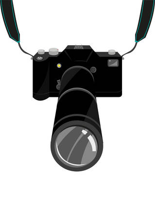 An expensive SLR Film or Digital Single Lens Reflex DSLR Camera with strap and zoom lens. Editable clip art.