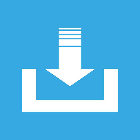 submission: Arrow Points down to storage file.  Symbolic Web Icon of Storage or Download symbol. Editable Clip art.