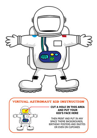 art activity: Astronaut Suit Cut Out Activity for Kids for Birthdays or Educational Games. Editable Clip Art. Illustration