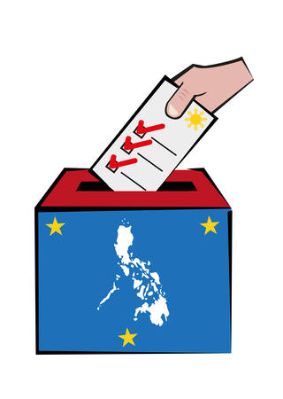 voters: Philippines Election Concept with Map and Voters Hand on Ballot Box. Illustration of Hand putting a paper on a ballot box. Editable Clip Art.
