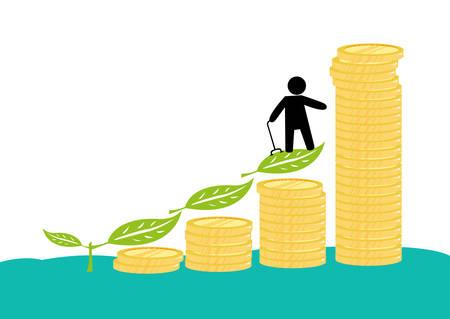 男性年金受給者または彼の投資や貯蓄に障害を持つ高齢者。保険や退職給付の象徴的な図