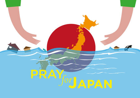 disaster recovery: Pray for Japan concept. Offering Help during natural disasters. Editable Clip Art. Hands are extending to help Japan during a calamity crisis