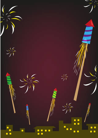 welcoming: Firework Rockets Explode in a Night Sky Over City Buildings. Editable Clip Art. Illustration