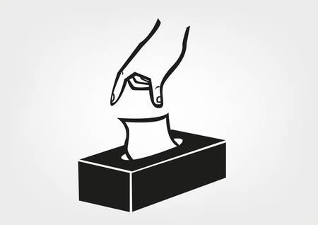 blatt: Illustration einer Hand, die ein Gewebe für Spender Maschine Etiketten und Verpackungen Anschauungsunterricht bekommen. Editierbare Clip art.