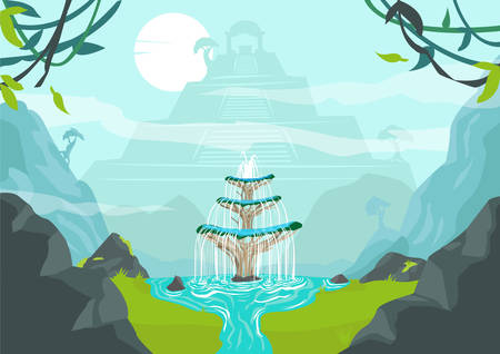 A Lost City with Fountain of Youth or Elixir of Life. Editable Clip Art.