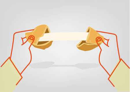 Illustration of a Hands cracking a Fortune Cookie with a blank paper strip for personalized message 일러스트