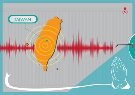 sismogr�fo: Terremoto en concepto de Taiw�n. Editable en Im�genes predise�adas. Representaci�n gr�fica de un terremoto en Taiw�n con las manos orando por el apoyo Vectores