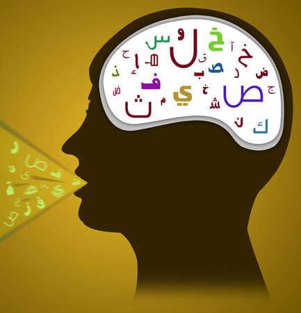 linguist: Arabic Texts Visible on the head and in the speaking mouth Stock Photo