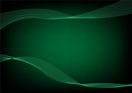 wavelengths: Abstract Green wavelengths and irregular lines on a dark background. Editable Clip Art. Illustration