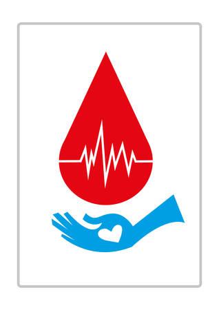vital: Blood Droplet with Life Monitor and a hand of recipient with a heart asking for donor blood. Editable Clip Art. Illustration