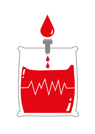 vital: Blood Bag with Life Signal. Droplets of Blood in a pack. Isolated on White Background Editable Clip Art.