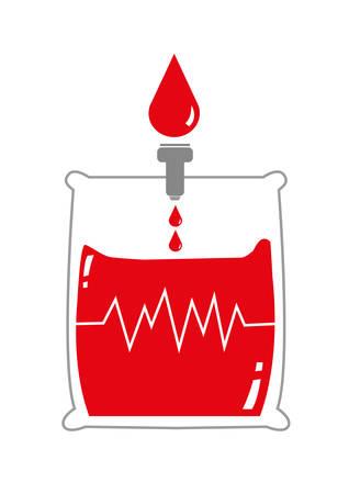 signos vitales: La bolsa de sangre con la se�al de la Vida. Las gotas de sangre en un paquete. Aislado en el fondo blanco editable Clip Art.