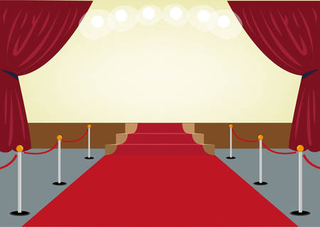 Red Carpet towards a Stage with Red Curtain frames. Editable Clip Art.